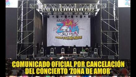 Comunicado Oficial por cancelación del concierto ´Zona de amor´