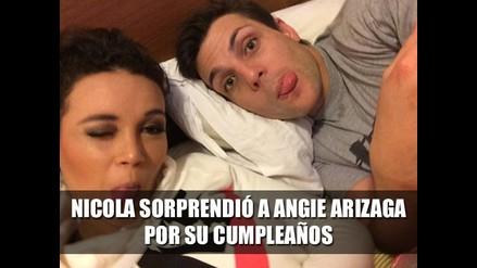 Nicola Porcella sorprendió a Angie Arizaga por su cumpleaños