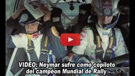 Neymar sufre como copiloto del campeón mundial de rally