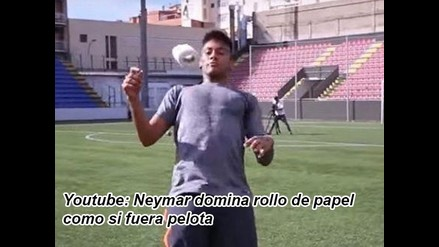 Youtube: Neymar domina rollo de papel como si fuera pelota