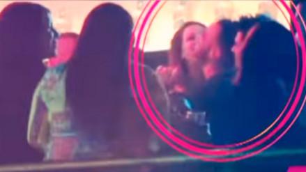Melissa Klug ampayada besándose con su bailarín de EGS