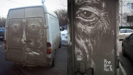 Los dibujos en carros sucios de este ilustrador están causando sensación en Instagram