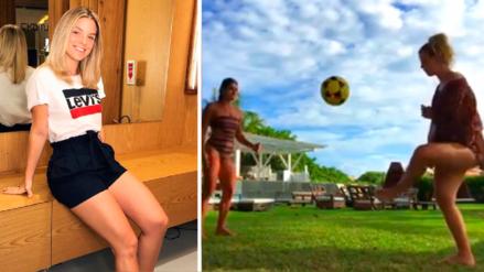 VIDEO: Thaisa Leal, la ex de Paolo Guerrero, demuestra su talento con la pelota