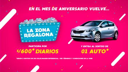 ¡LA ZONA REGALONA TE PREMIA CON UN AUTO Y DINERO EN EFECTIVO!