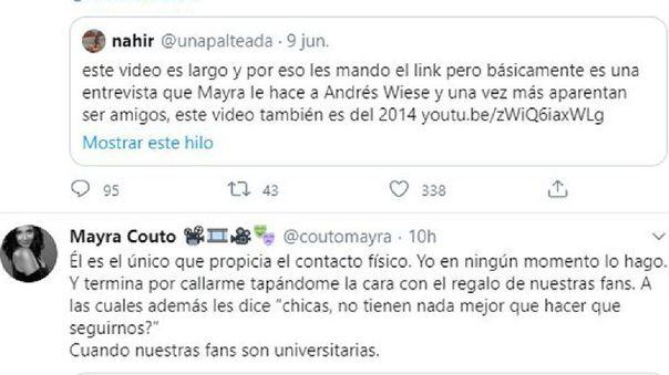 Mayra Cuoto le respondió a una usuaria en Twiiter sobre Andrés Wiese.