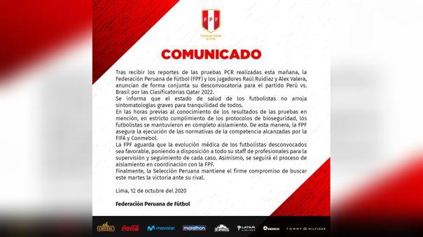 Este sería el comunicado de la Federación Peruana de Fútbol.
