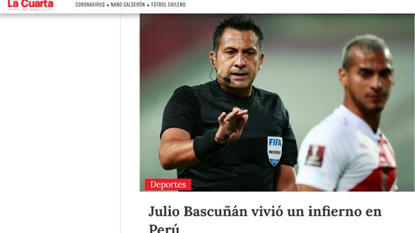 """El medio chileno """"La Cuarta""""  señaló que """" Julio Bascuñán vivió un infierno en el Perú"""" ."""
