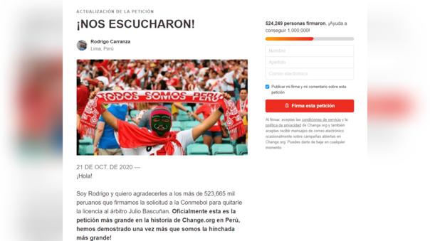 Según Rodrigo Carranza, esta fue la petición más grande en la historia de Change.org en Perú.