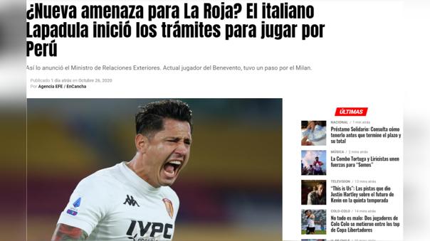 """El portal """"En Cancha"""", señaló que Lapadula es """"la nueva amenaza para la Roja""""."""