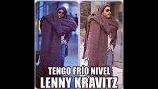 La moda llega a extremos cuando sales a la calle con tu frazada en el cuello. La gente se burló mucho de este look de Lenny.