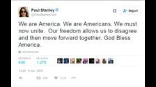 1. PAUL STANLEY.  Somos América. Somos americanos. Ahora debemos unirnos. Nuestra libertad nos permite estar en desacuerdo con luego movernos hacia adelante juntos. Dios bendiga a América.