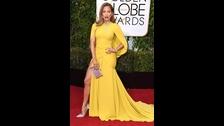 Jennifer Lopez en Giambattista Valli en los Golden Globes 2016 en enero.
