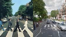 THE BEATLES. Abbey Road es una de las calles más populares del mundo. La vista de 1969 es bastante diferente a la del 2017. Hay menos árboles y más autos, aunque aún preserva ese espíritu calmado que mostraron los Beatles.